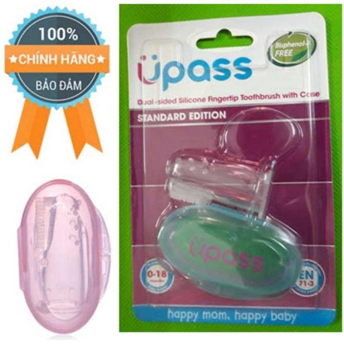 Bàn chải rơ lưỡi, đánh răng xỏ ngón silicone mềm kèm hộp đựng Upass Thái Lan - UP4002N