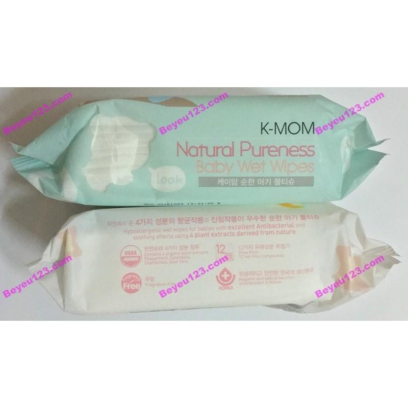 Bịch 100 tờ Khăn ướt cao cấp không mùi K-MOM (Made in Korea)