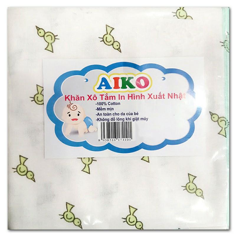 1 Khăn tắm vải xô in hình xuất nhật Aiko cho bé - Quấn bé sơ sinh- Size 80x85cm