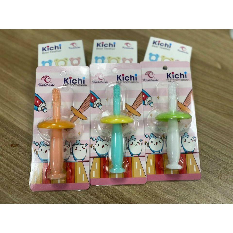 Bàn chải đánh răng silicone mềm Kichilachi an toàn cho bé