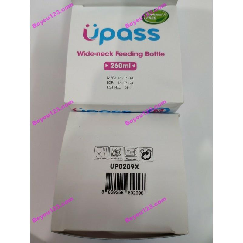 Bình sữa cổ rộng 260mlkhông BPA Upass UP0209X (Made in Thailand)  (núm ti chữ + chống đổ)