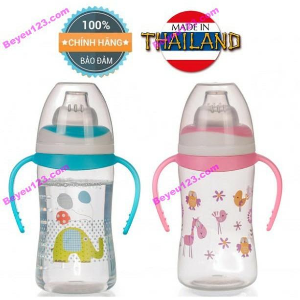 UPASS (Thái Lan) - Bình uống nước, uống sữa đầu ti silicone mềm có tay cầm cho bé 250ml UPASS UP0154N