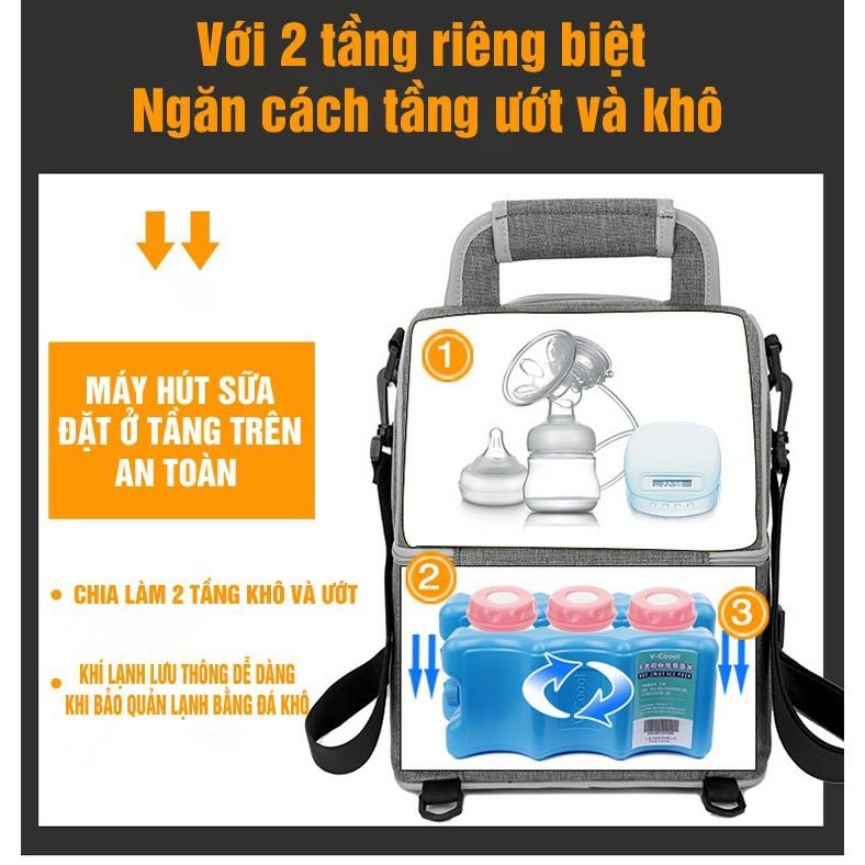 Balo / Túi giữ nhiệt 2 ngăn Kichilachi - giữ lạnh trữ sữa - thực phẩm Kichi / Vcool