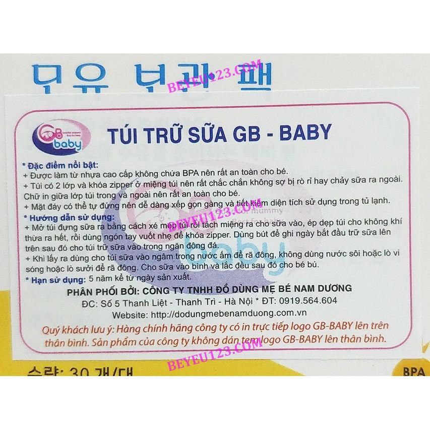 Hộp 30 túi trữ sữa mẹ 100ml GB BABY G30 Hàn Quốc