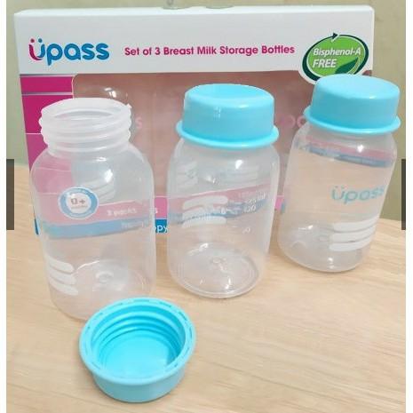 Bộ 3 bình trữ sữa Mẹ 125ml Upass - Thái Lan