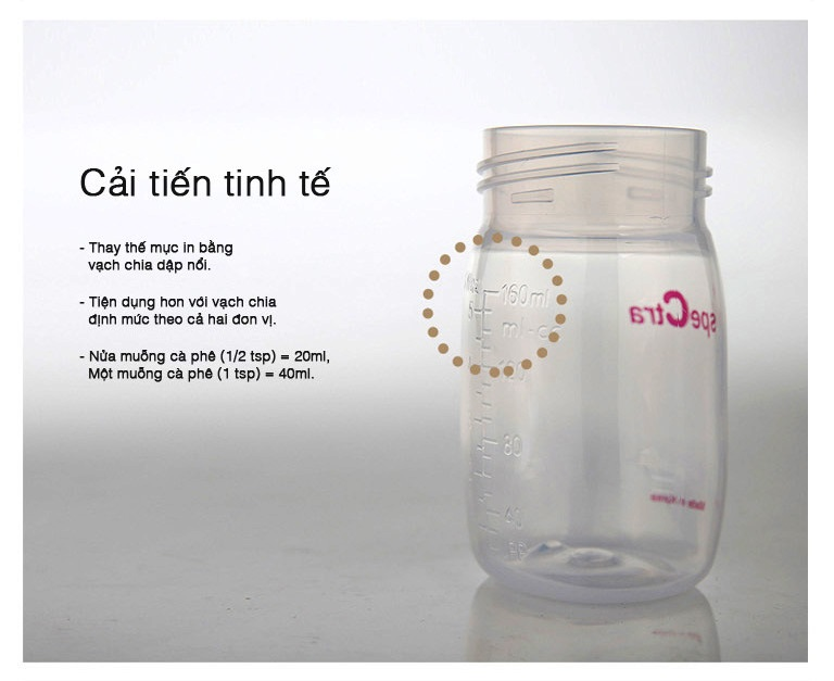 Bình sữa nhựa PP cổ rộng Spectra 160ml -kèm núm ti bú Size S cho Bé - Hàn Quốc -Sử dụng gắn được cho máy hút sữa Spectra