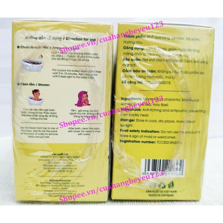 [150gr] Hộp 15 túi lọc thảo dược tắm bé Bảo Nhiên - giảm ngứa do lông măng, ngừa rôm sảy, chống hăm  (Việt Nam)