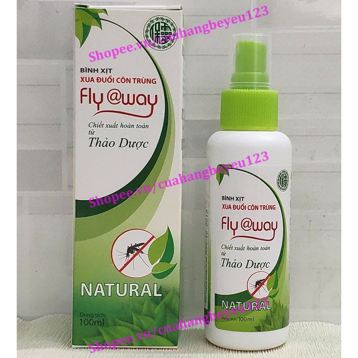 [100ml] Bình xịt muỗi thảo dược Fly@way - Bảo Nhiên (Việt Nam)