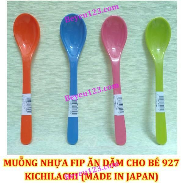 Thìa 927- Muỗng nhựa Fip ăn dặm, cơm cho Bé Kichilachi -Made in Japan (Size Trung)