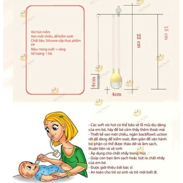 (Mẫu mới gấu) Dụng cụ hút mũi dây an toàn cho bé GB BABY - Kèm cọ vệ sinh ống dây hút