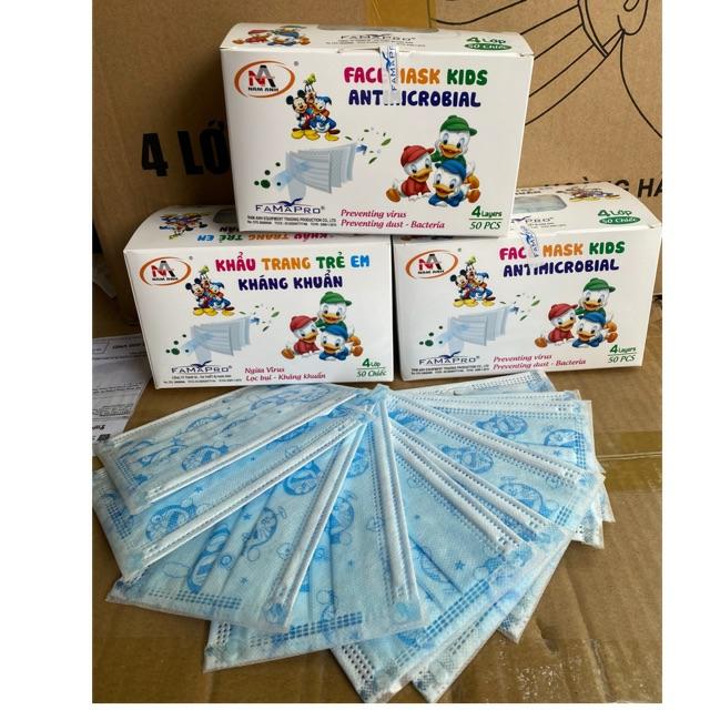 Hộp 50 Khẩu trang trẻ em 4 lớp kháng khuẩn Famapro - Việt Nam