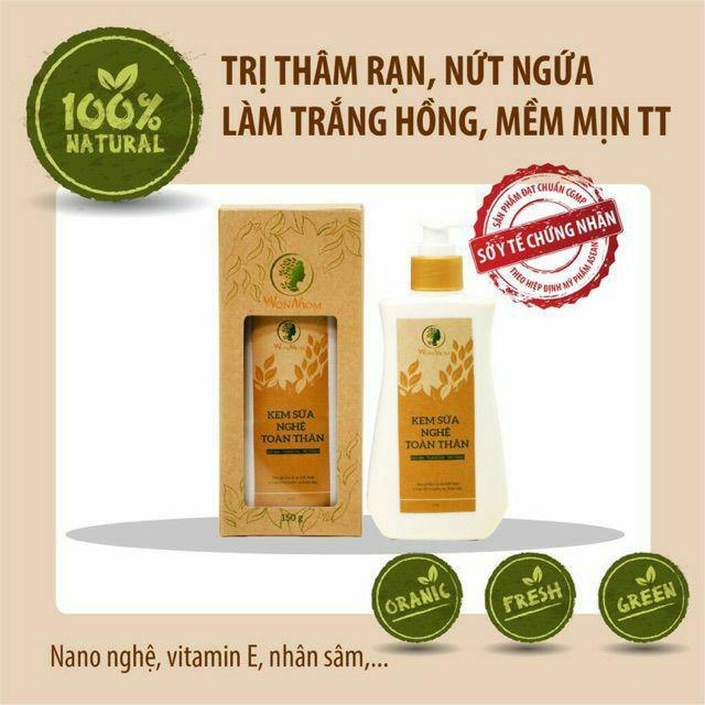 Combo Dưỡng Da Toàn Diện Cho Mẹ Sau Sinh Wonmom (1 kem sữa nghệ toàn thân + 1 nghệ mặt) Việt Nam