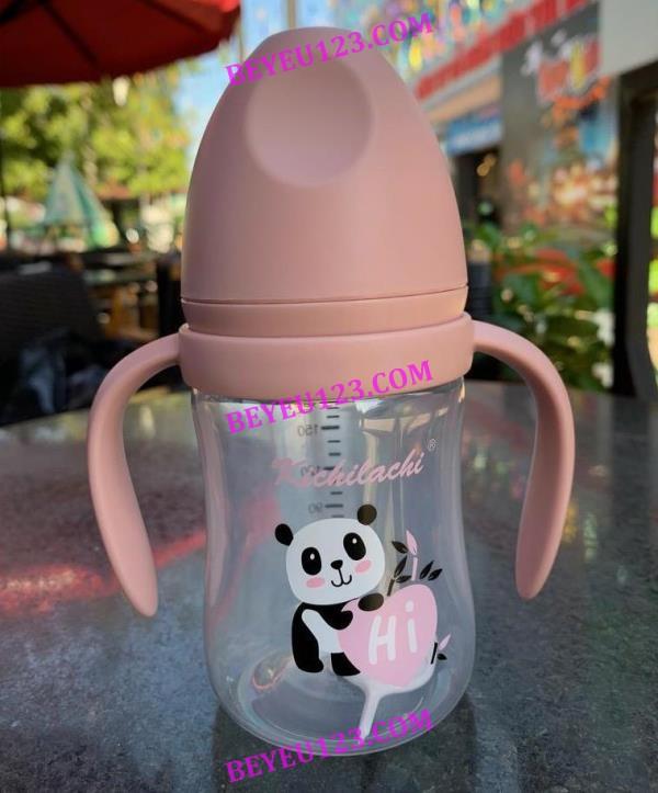 (180ml / 240ml) Bình Sữa nhựa PP cổ rộng Kichilachi kèm tay cầm (Công nghệ Nhật)