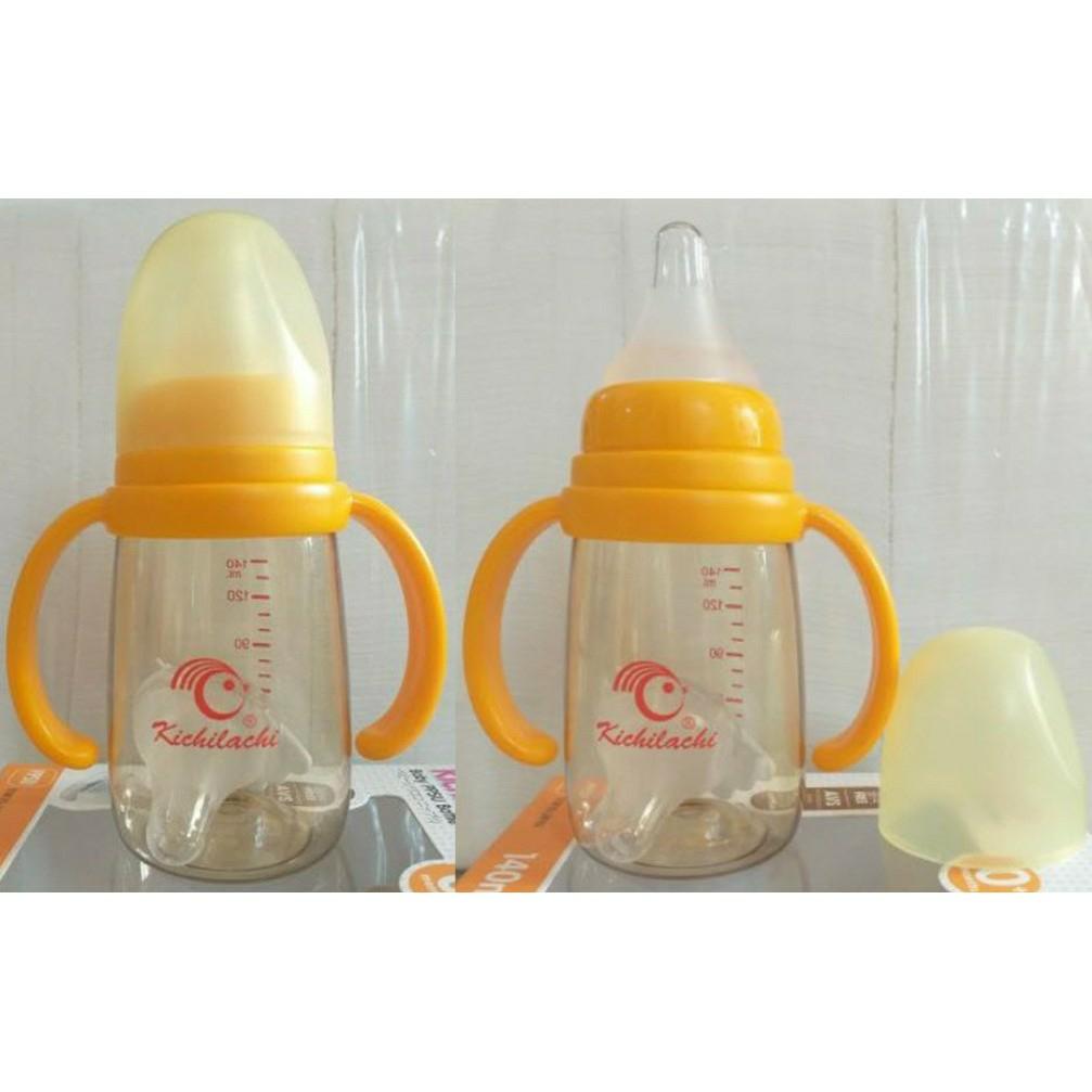 Bình sữa PPSU cổ hẹp cao cấp 140ml có tay cầm KICHILACHI (Công nghệ Nhật)