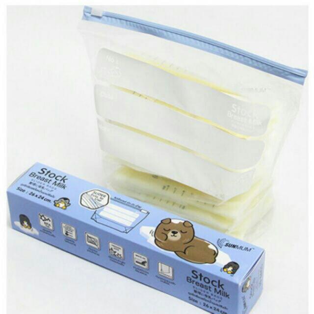 Hộp 10 túi Zip bảo quản túi trữ sữa,bình sữa,thực phẩm Sunmum Thái Lan