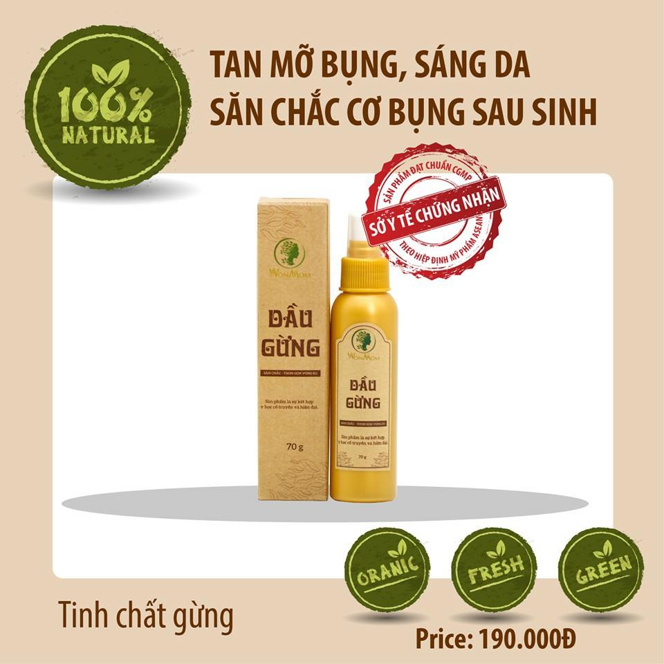 70gr - Dầu gừng Wonmom Massage bụng tan mỡ sáng da sau sinh Việt Nam