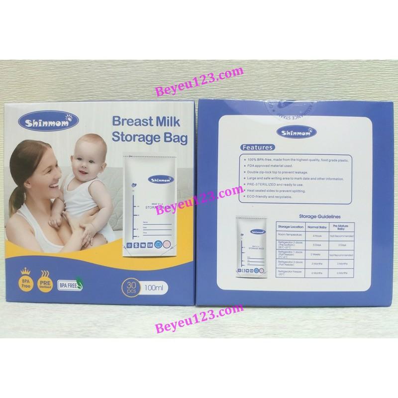 Hộp 30 túi trữ sữa mẹ 100ml không BPA Shinmom