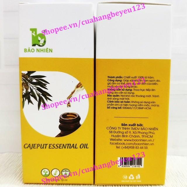[50ml] Dầu tràm nguyên chất Bảo Nhiên - giúp sát khuẩn, giữấmcơ thể, chống cảm lạnh (Việt Nam)