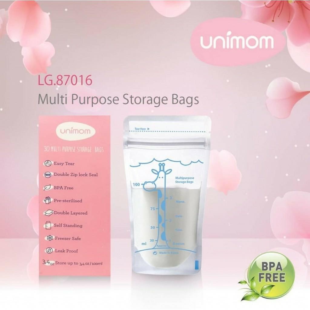 Hộp 30 Túi trữ sữa Mẹ đa năng 100ml Unimom không có BPA - Hàn Quốc