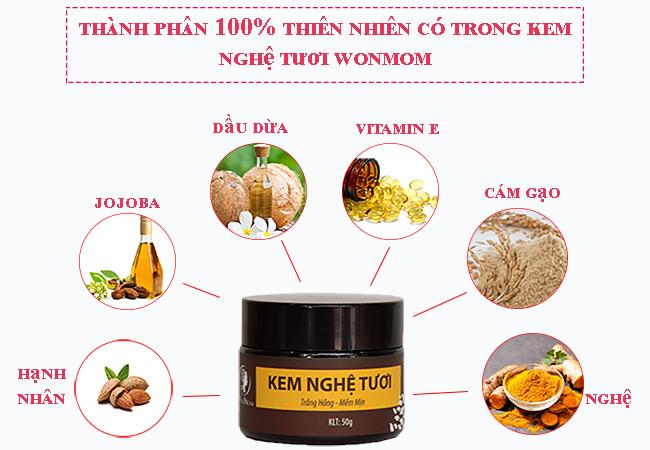 Kem nghệ tươi Wonmom dưỡng da trước và sau sinh 50Gram - Việt Nam (chứng nhận an toàn)