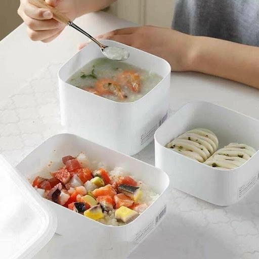 Set 2 hộp nhựa 280ml kèm nắp đậy đựng thực phẩm , ăn dặm White pack - Made in Japan - KBN 51609