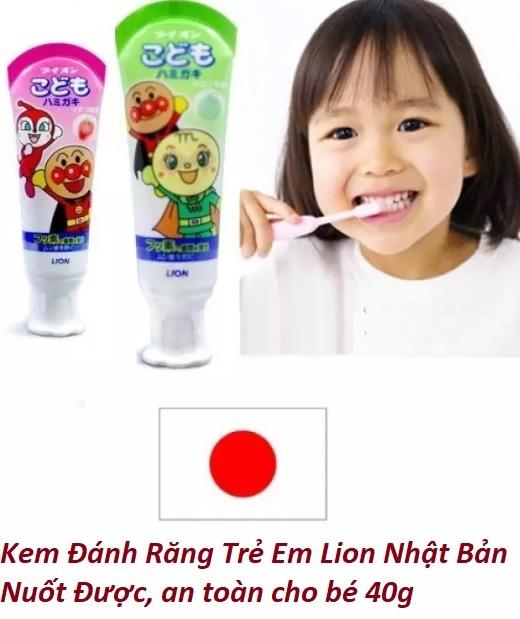 (Chính hãng) Kem đánh răng trẻ em nuốt được Lion 40gr - Made in Japan