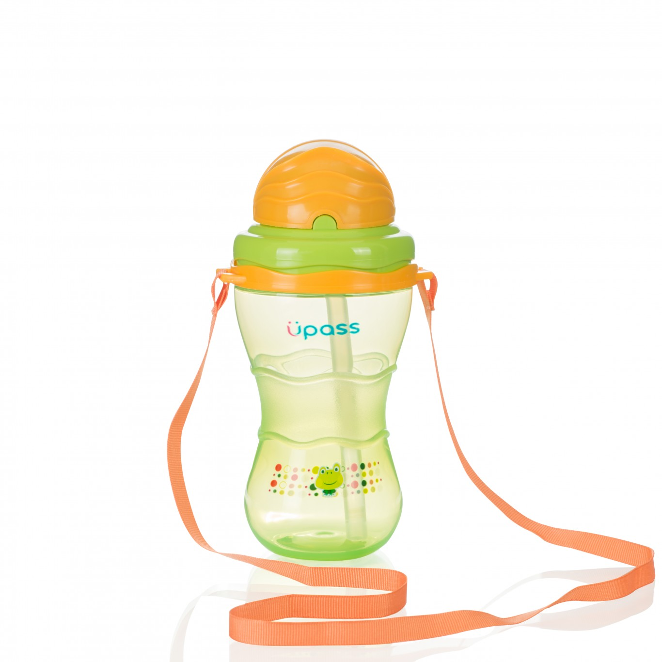 Bình uống nước có ống hút kèm dây đeo 300ml - Upass Thái Lan - UP0300X
