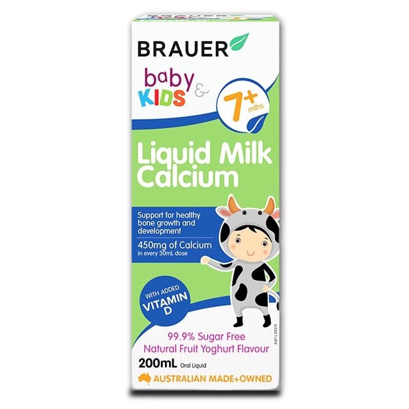 Canxi sữa Brauer Baby & Kids Liquid Milk Calcium cho bé từ 7 tháng tuổi