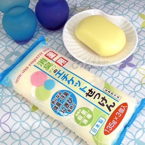 xa phong tri mun lung medicated etiquette soap nhat ban 135g x 3 vien  set