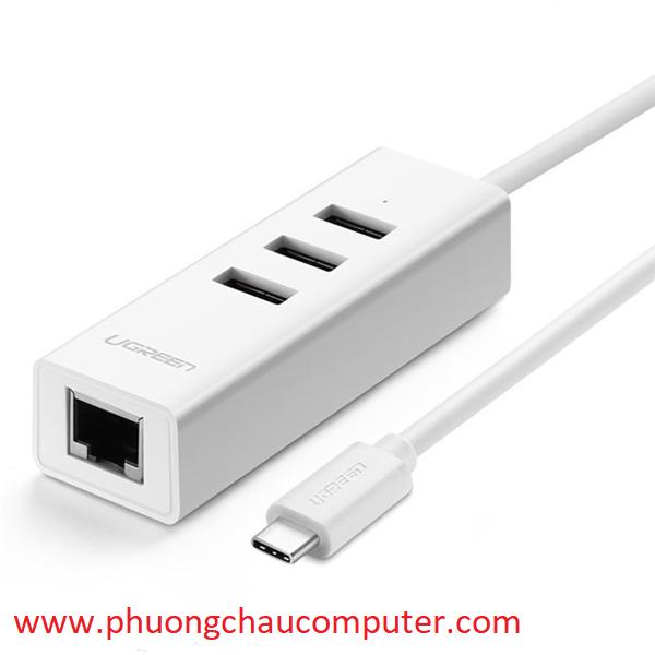 Bộ chia USB Type C sang Hub USB 2.0 3 Cổng và 1 cổng Lan Ugreen 20792