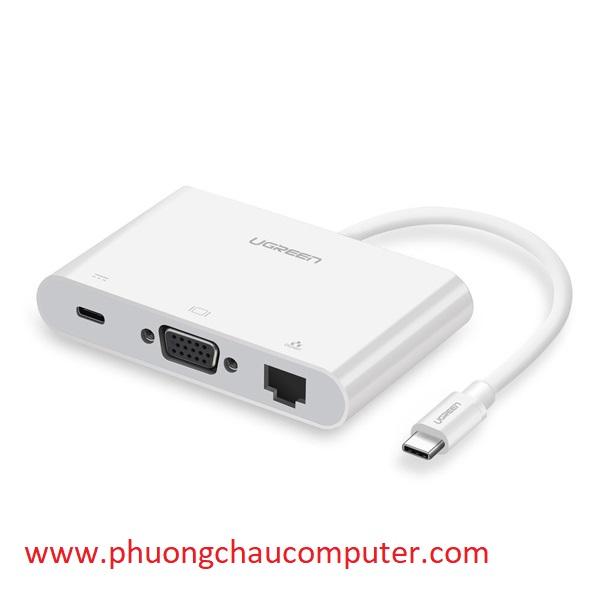 Cáp chuyển đổi USB-C to VGA + Hub USB 2.0 hỗ trợ Lan 10/100Mbps Ugreen 30439