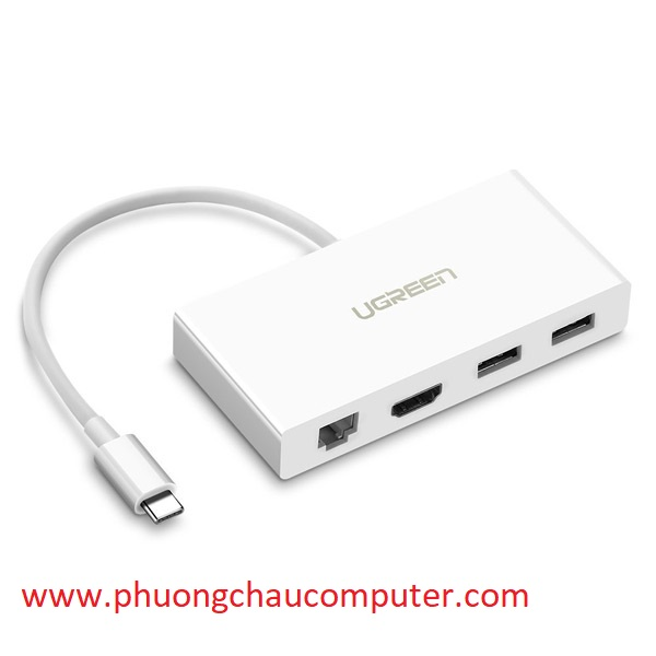 Cáp USB Type C To HDMI 4K, Lan 10/100Mpbs Hub USB 3.0 Ugreen 40377