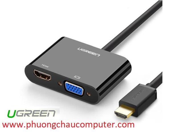 Cáp HDMI To HDMI/VGA + Audio 3.5mm Ugreen 40744 (Nguồn Micro USB 5V)