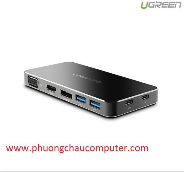 Hub USB Type C To HDMI, VGA, Displayport, Hub USB 3.0, USB-C Ugreen 40872