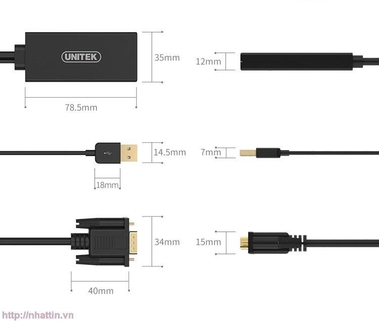 Cáp VGA + USB sang HDMI Y8711