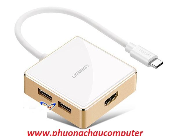 Cáp chuyển từ USB type C sang HDMI + USB 3.0, USB 2.0 sạc được cho Macbook cao cấp Ugreen 30441