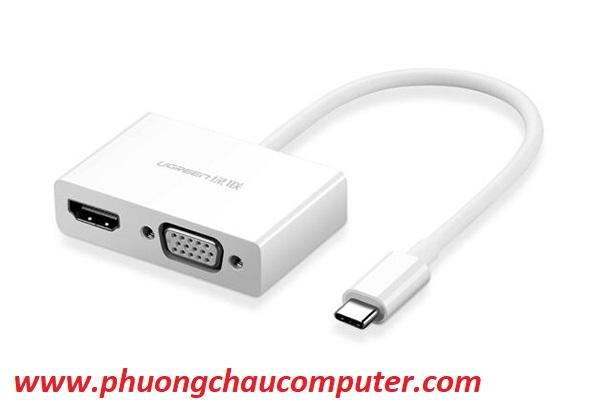 Cáp USB Type C To HDMI Và VGA Cao cấp Ugreen 30843