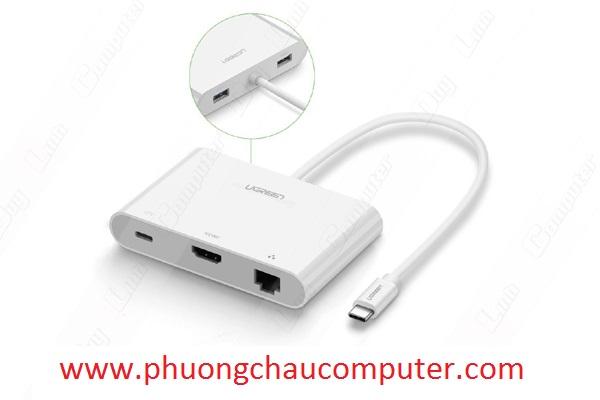 Cáp chuyển USB Type C to HDMI + Hub USB 2.0 hỗ trợ Lan 10/100Mbps Ugreen UG-30440