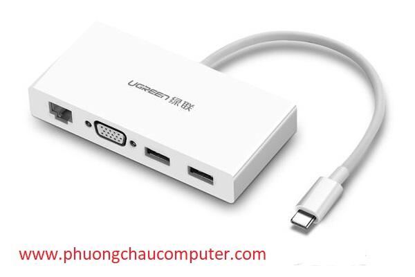 Cáp Chuyển USB Type C To VGA, Lan 10/100Mbps, Hub USB 3.0 Ugreen 40378