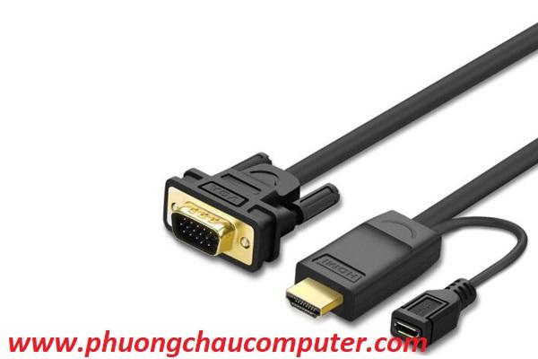 Cáp HDMI to VGA chính hãng Ugreen 30451 dài 3M có nguồn phụ