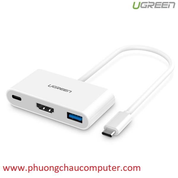 Cáp USB 3.1 Type C chuyển sang HDMI và USB 3.0 Ugreen UG-30377 chính hãng