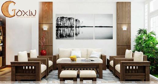 Sofa gỗ óc chó chữ U GX48