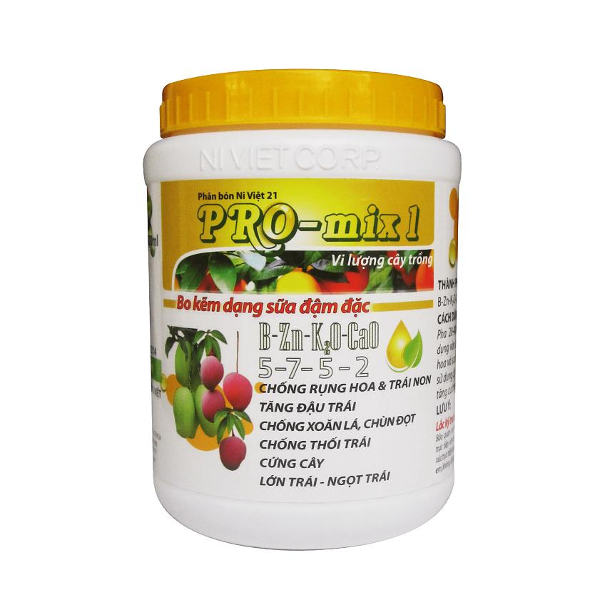 PRO-MIX 1 - Canxi bo kẽm đậm đặc chống rụng hoa và trái non, chống xoăn lá chùn đọt