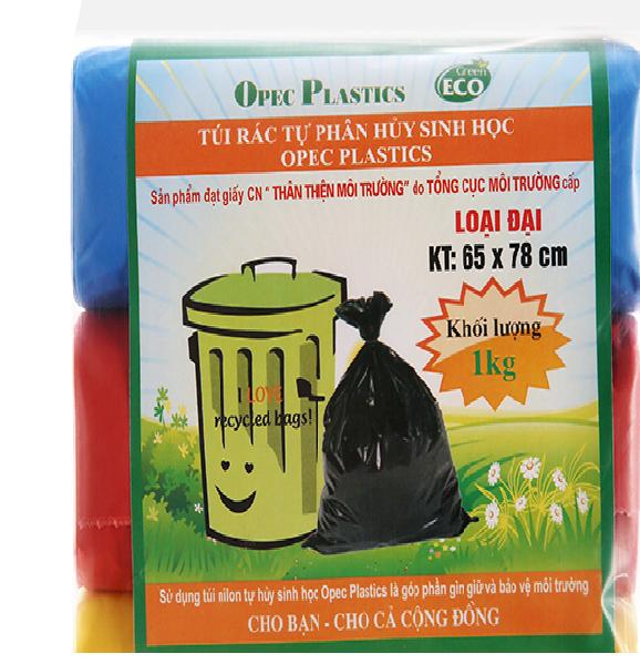 Túi nilon đựng rác tự phân hủy sinh học 3 cuộn/kg các cỡ