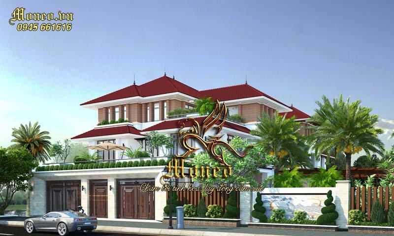 Mẫu thiết kế nhà biệt thự 3 tầng 180m2 mái ngói đẹp ở Hưng Yên