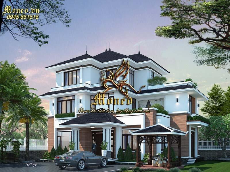 Giới thiệu mẫu thiết kế biệt thự 3 tầng mặt tiền 15m mái nhật đẹp tại Hưng Yên