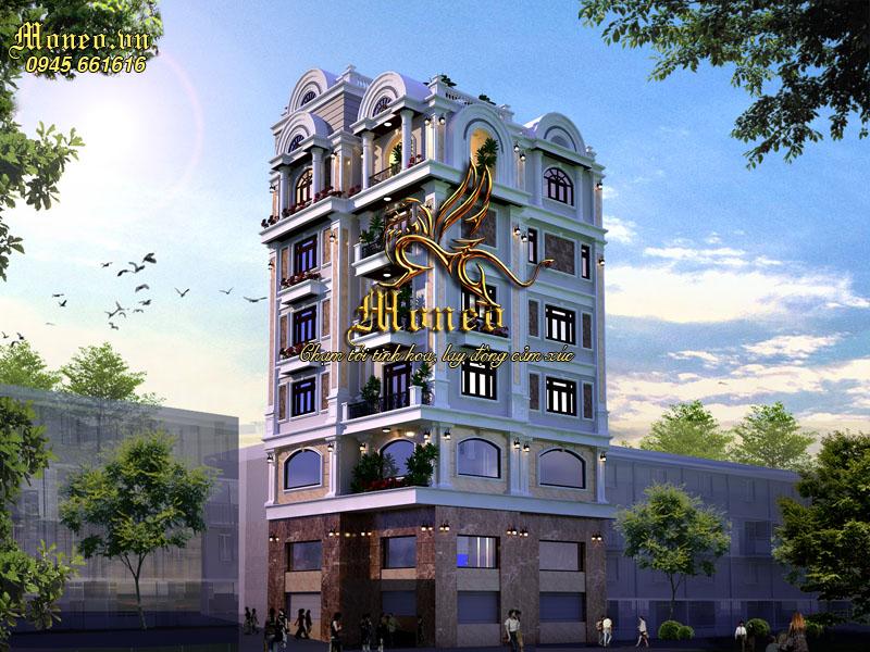 Hình ảnh phối cảnh mẫu thiết kế biệt thự phố tân cổ điển 7 tầng đẹp