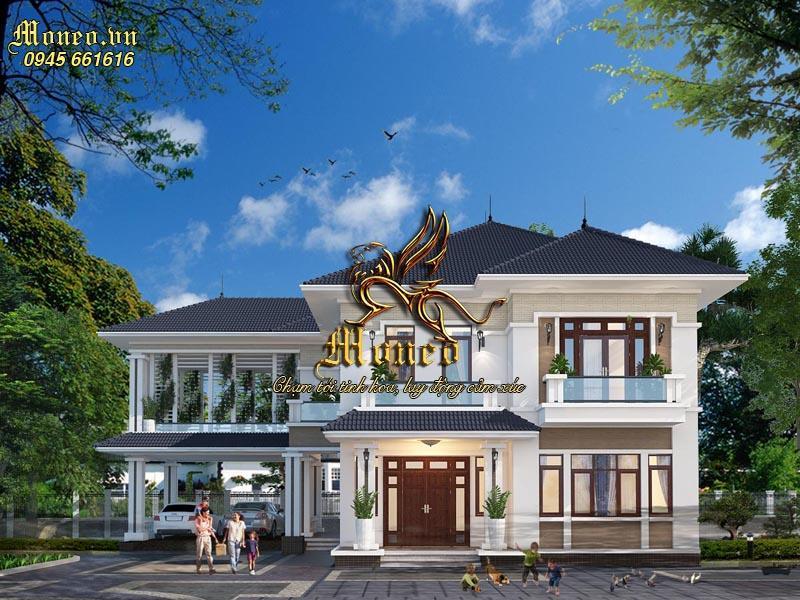 Mẫu thiết kế biệt thự 2 tầng 200m2 mái Nhật đẳng cấp có 4 phòng ngủ