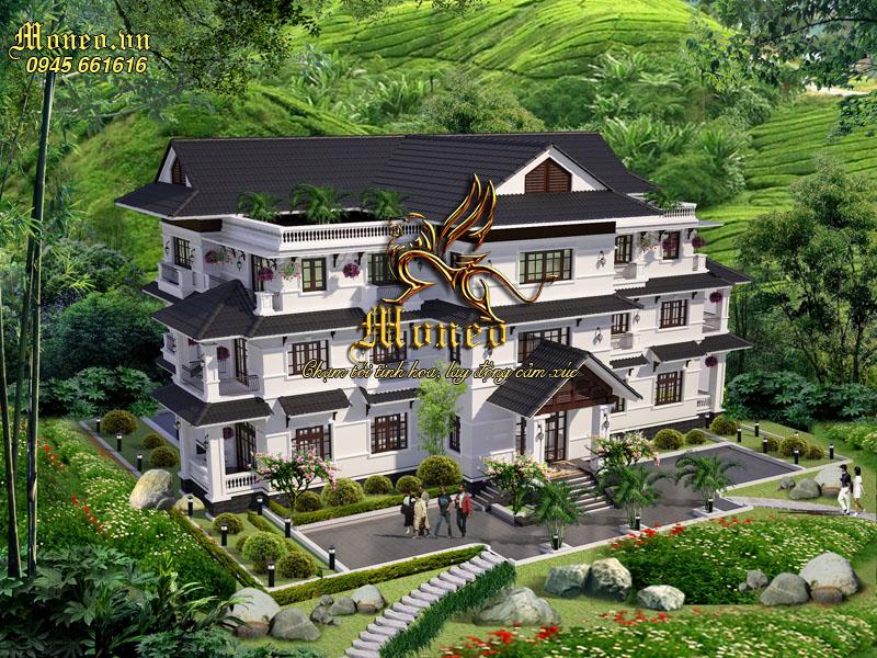 Tư vấn thiết kế khách sạn 3 tầng hiện đại mái thái