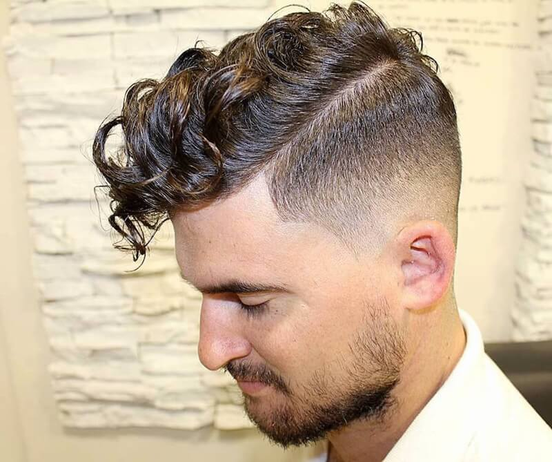 Curly Fringe + High Fade